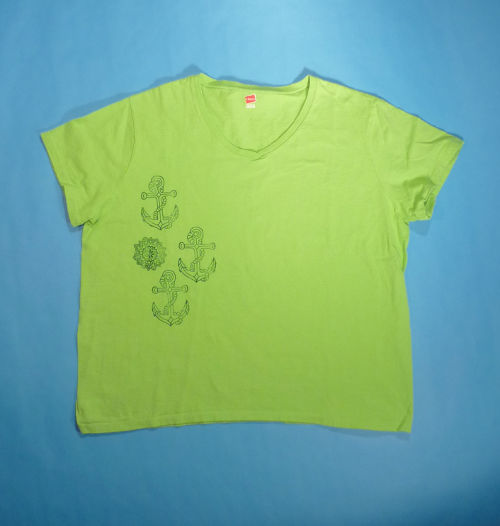 Green Women s XL T Shirt Hand Stamped With Mandala Anchor Designs ... f615586e95